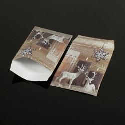 Lot de 100 sachets cadeaux marron motifs rennes de Noël 17x11cm - 8067