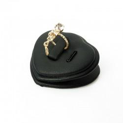 Petit plot pour bague et pendentif en simili cuir noir - 7425