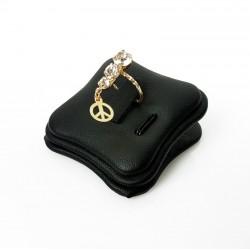 Plot pour bague et pendentif en simili cuir noir - 7427