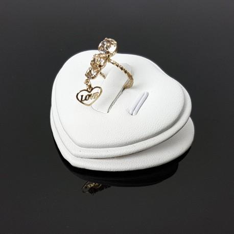 Petit plot pour bague et pendentif en simili cuir blanc - 7426