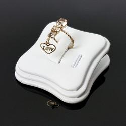 Plot pour bague et pendentif en simili cuir blanc - 7428