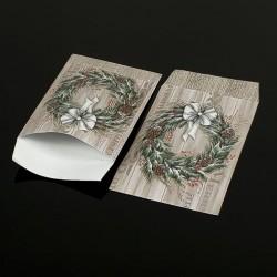 Lot de 100 pochettes cadeaux 24x16cm marron à motifs couronne de Noël - 8068