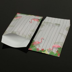 Lot de 100 pochettes cadeaux grises 24x16cm à motif tropical - 8069