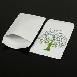 Lot de 100 pochettes cadeaux blanches 24x16cm à motif arbre de vie - 8070