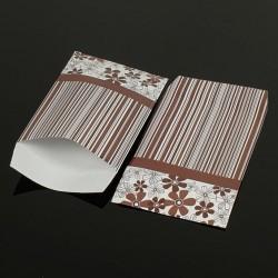 Lot de 100 pochettes cadeaux marron 24x16cm à motifs fleurs et rayures - 8072