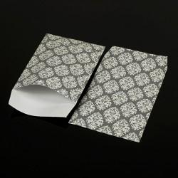 Lot de 100 pochettes cadeaux grises 24x16cm à motif baroque - 8073