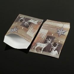 Lot de 100 pochettes cadeaux 24x16cm à motifs rennes de Noël - 8074