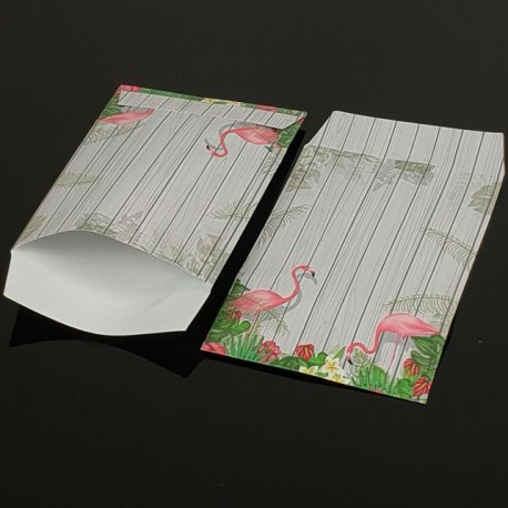 100 grandes pochettes cadeaux motif tropical 29x21cm - 8076