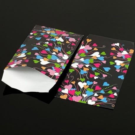 100 grandes pochettes cadeaux motifs coeurs multicolores 29x21cm - 8078