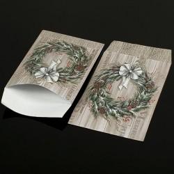100 grandes pochettes cadeaux motif couronne de Noël 29x21cm - 8079