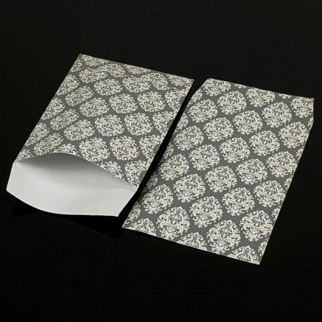 100 grandes pochettes cadeaux grises motif baroque 29x21cm - 8080