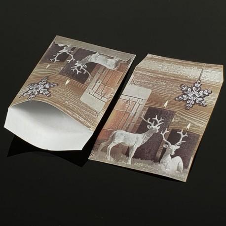 100 grandes pochettes cadeaux motif rennes de Noël 29x21cm - 8083