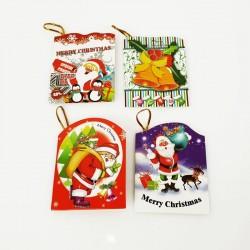 Lot de 40 étiquettes cadeaux de Noël à attache dorée - 7457