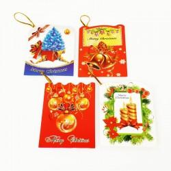 40 étiquettes cadeaux décor de Noël à paillettes - 7459