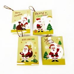 Lot de 40 étiquettes cadeaux jaunes motif Père-Noël - 7460