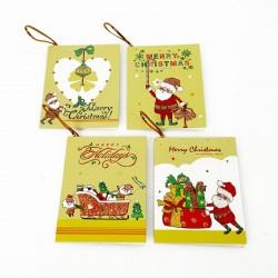 40 étiquettes cadeaux jaunes motif Père-Noël - 7461