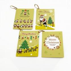 Lot de 40 étiquettes cadeaux jaunes motif de Noël - 7462