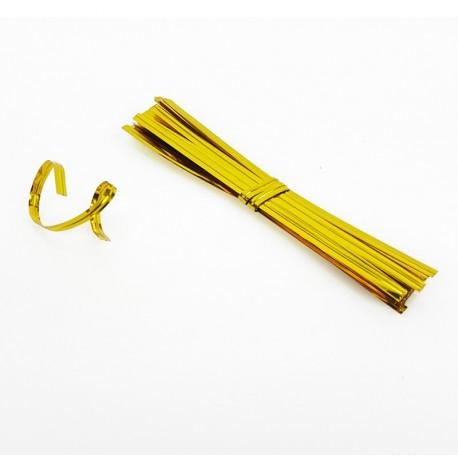 750 attaches pour sachet cellophane couleur dorée - 7478