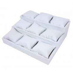 Présentoir en simili cuir blanc avec 9 coussins amovibles - 7483