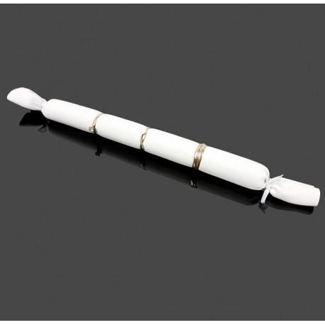 Petits coussin long en simili cuir blanc pour bagues - 7487