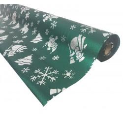 Rouleau de papier cadeaux vert motifs d'hiver 20m - 7489