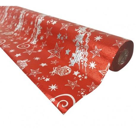 Rouleau de papier cadeaux rouge motifs de Noël 20m - 7490