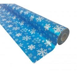 Rouleau de papier cadeaux bleu motifs flocon de neige 20m - 7492