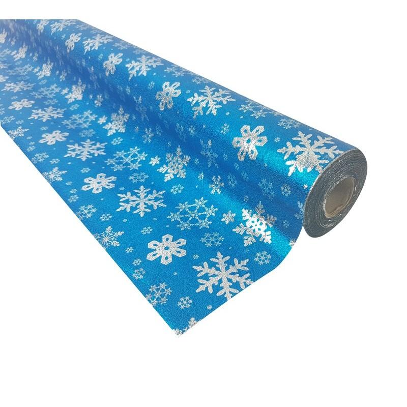 Rouleau De Papier Cadeaux Bleu Motifs Flocon De Neige 20m 9091