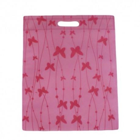 12 sacs non-tissés couleur rose clair et imprimé papillons - 7496