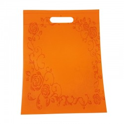 12 sacs non-tissés couleur orange et imprimé roses - 7493