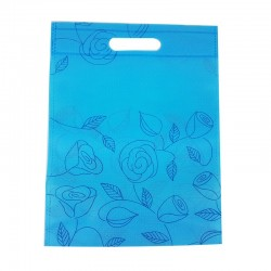 12 sacs non-tissés couleur bleue et imprimé fleurs - 7494