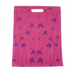 12 sacs non-tissés rose foncé imprimé papillons - 7498