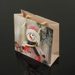 12 petits sacs cadeaux motif bonhomme de neige 15x14x6cm - 7499