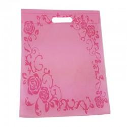 12 sacs non-tissés rose clair imprimé roses - 7497