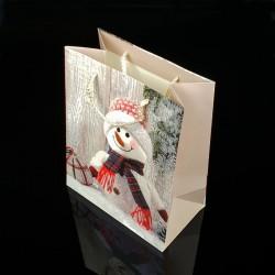 Lot de 12 sacs cadeaux motif bonhome de neige 18x23x10cm - 7503