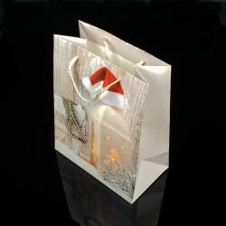 Lot de 12 sacs cadeaux motif lanterne de Noël 18x23x10cm - 7504