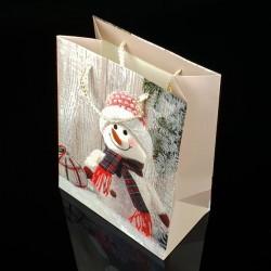 12 sacs cadeaux à paillettes motif bonhomme de neige 26x32x12cm - 7507