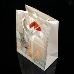 12 sacs cadeaux à paillettes motif lanterne de Noël 26x32x12cm - 7508
