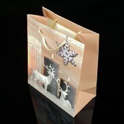 12 sacs cadeaux à paillettes motif rennes de Noël 26x32x12cm - 7509