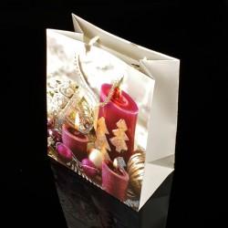 12 sacs cadeaux à paillettes motif bougie de Noël 26x32x12cm - 7510