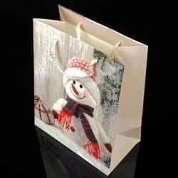 12 grands sacs cadeaux motifs bonhomme de neige 31x44x12cm - 7511