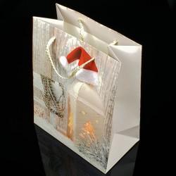 12 grands sacs cadeaux motif lanterne de Noël 31x44x12cm - 7512