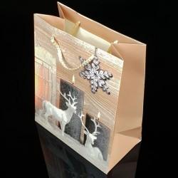 12 grands sacs cadeaux motif rennes de Noël 31x44x12cm - 7513
