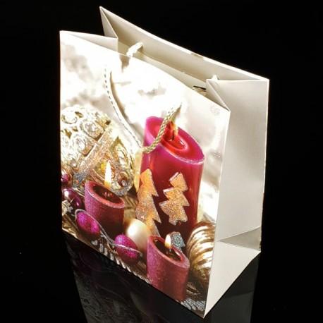 12 grands sacs cadeaux motif bougie de Noël 31x44x12cm - 7514