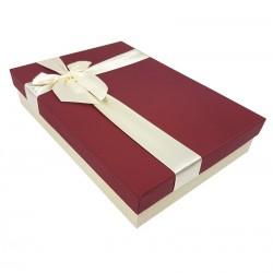 Boîte cadeaux plate bicolore écru et rouge bordeaux - 7515