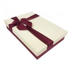 Boîte cadeaux plate bicolore rouge bordeaux et écru - 7516