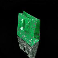 12 petits sacs cadeaux vert menthe motifs de Noël 14.5x11.5x6.5cm - 7519