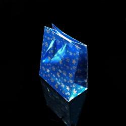 12 petits sacs cadeaux bleus motifs étoiles 14.5x11.5x6.5cm - 7520