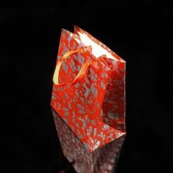 12 sacs cadeaux de couleur rouge motif de Noël 21x18x7.5cm - 7521