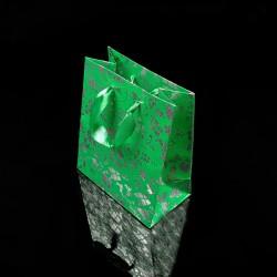 12 sacs cadeaux de couleur vert menthe motif de Noël 21x18x7.5cm - 7523